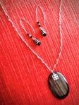 Polished Black Stone pendant necklace with charm, Black swarovski crystal drop earrings